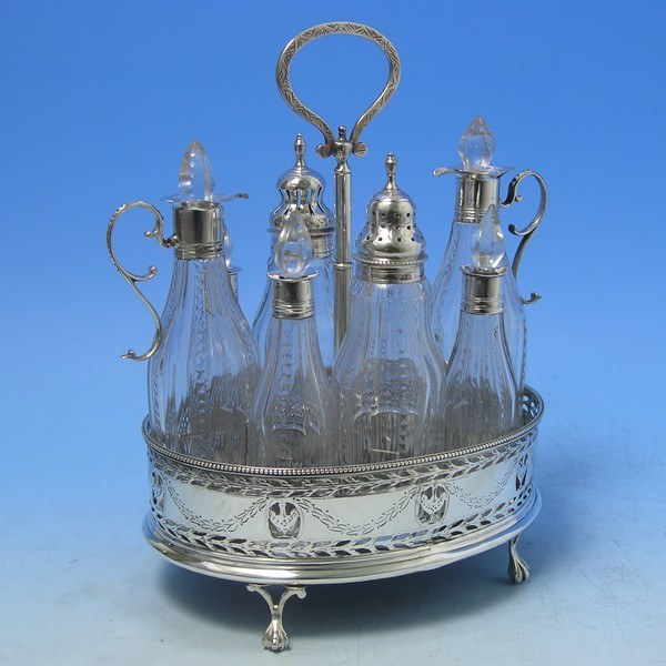 d7222: Antique Sterling Silver Cruet Set - Hester Bateman Hallmarked In 1780 London - George III Georgian - image 1