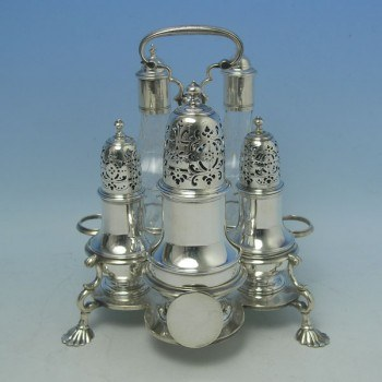 e8132: Antique Sterling Silver Cruet Sets - Thomas Bamford I Hallmarked In 1726 London - George I Georgian - image 1