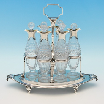 J7124: Antique Sterling Silver Cruet Set - Paul Storr Hallmarked In 1799 London - Georgian - Image 5