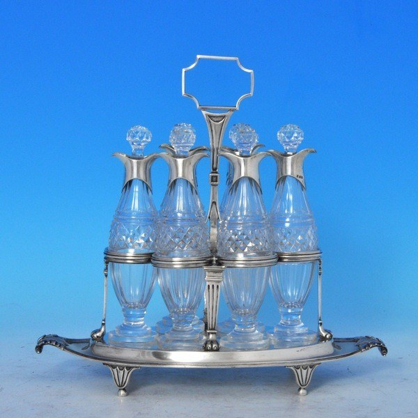 j7124: Antique Sterling Silver Cruet Set - Paul Storr Hallmarked In 1799 London - George III Georgian - image 1