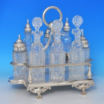 j9998: Antique Sterling Silver Cruet Set - James And Walter Deaken Hallmarked In 1899 London - Victorian - image 1