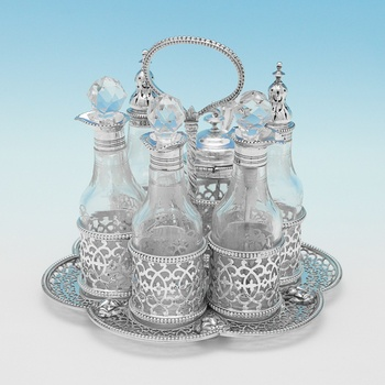 L0279: Antique Sterling Silver Cruet Set - Charles Fox Hallmarked In 1826 London - Georgian - Image 1