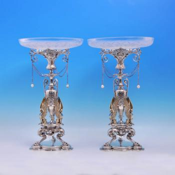 B3525: Antique Sterling Silver Pair Of Dessert Stands - Elkington & Co. Hallmarked In 1873 Birmingham - Victorian - Image 1