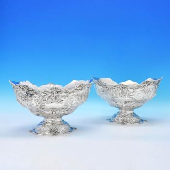 B3213: Antique Sterling Silver Pair Of Dishes - Angel & Savoury Hallmarked In 1891 London - Victorian - Image 1