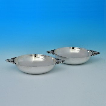 j6579: Sterling Silver Pair Of Dishes - Wakely & Wheeler Hallmarked In 1944 London - George VI  - image 1