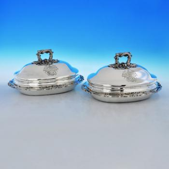 B2625: Antique Sterling Silver Pair Of Entree Dishes - Robert Hennell II Hallmarked In 1830 London - Georgian - Image 1