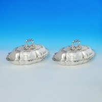 j6557: Sterling Silver Pair Of Entree Dishes - James Dixon & Sons Hallmarked In 1918 Sheffield - George V  - image 1