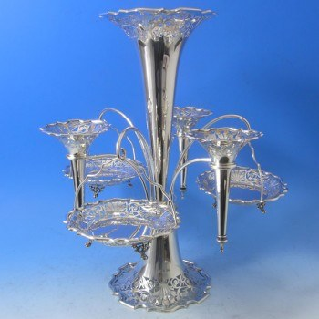 j0280: Antique Sterling Silver Epergne - Walker & Hall Hallmarked In 1903 Sheffield - Edwardian - image 1