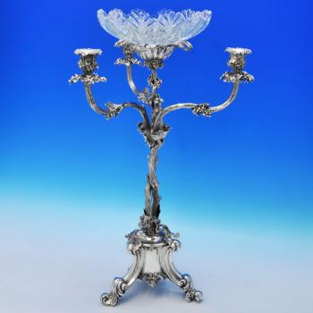 J6637: Antique Sterling Silver Epergne - Elkington & Company Hallmarked In 1856 Birmingham - Victorian - Image 1