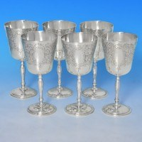 b0107: Sterling Silver Set Of Six Goblets - Charles Green & Co Hallmarked In 1967 Birmingham - Elizabeth II  - image 1