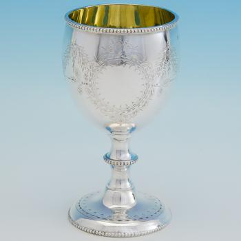B6756: Antique Sterling Silver Goblet - Robert Harper Hallmarked In 1866 London - Victorian - Image 1