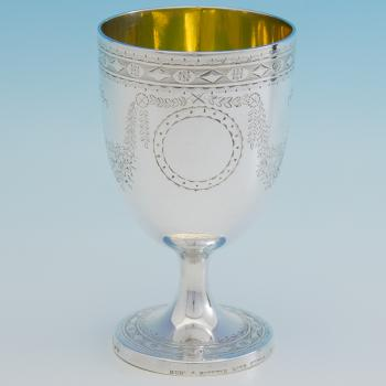 B6757: Antique Sterling Silver Goblet - Hunt And Roskell Hallmarked In 1867 London - Victorian - Image 1