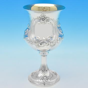 B6986: Antique Sterling Silver Goblet - Edward And Joseph Mappin Hallmarked In 1874 London - Victorian - Image 1
