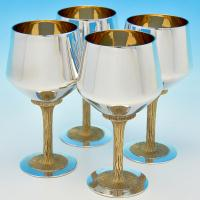 B7323:  Sterling Silver Set Of Four Goblets - Mappin & Webb Hallmarked In 1973 London - Elizabeth II - Image 1