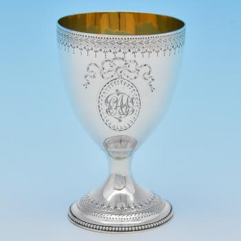 B8295: Antique Sterling Silver Goblet - Walter Brind Hallmarked In 1782 London - Georgian - Image 1