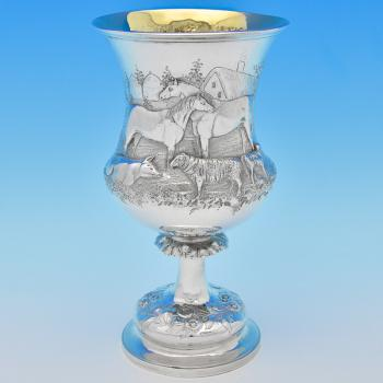 B8366: Antique Sterling Silver Goblet - Henry Holland Hallmarked In 1862 London - Victorian - Image 1