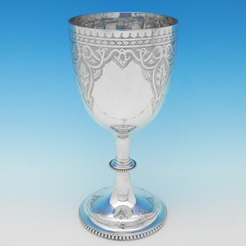 B8827: Antique Sterling Silver Goblets - F. Elkington Hallmarked In 1874 London - Victorian - Image 1