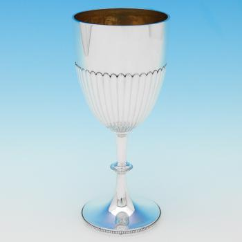 B9505p: Antique Sterling Silver Goblet - Goldsmiths & Silversmiths Co. Hallmarked In 1902 London - Edwardian - Image 1