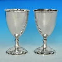 j6734: Antique Sterling Silver Pair Of Goblets - Pierre Gillois Hallmarked In 1783 London - George III Georgian - image 1