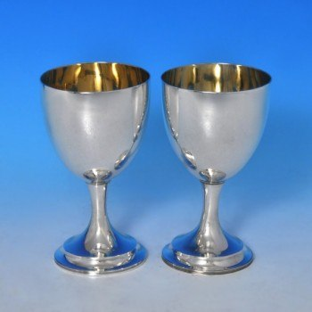 j8509: Antique Sterling Silver Pair Of Goblets - Henry Holland Hallmarked In 1854 London - Victorian - image 1