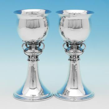 L0142: Antique Sterling Silver Goblets - Omar Ramsden Hallmarked In 1917 London - George V - Image 1