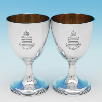 L0390: Antique Sterling Silver Goblets - Robert Sharp Hallmarked In 1800 London - Georgian - Image 1