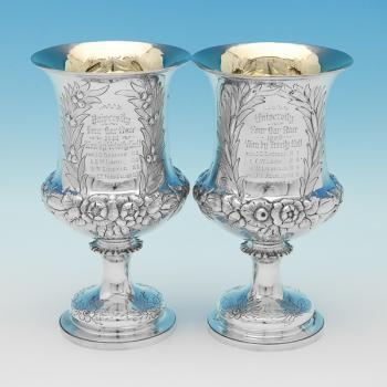 L0543: Antique Sterling Silver Pair Of Goblets - Charles Stuart Harris Hallmarked In 1890 London - Victorian - Image 1
