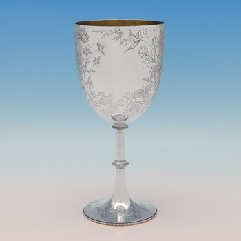 """VICTORIAN Wine GOBLET SILVERPLATE  CUP HAND CHASED England 7/"""" Tall"""