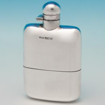 B5769:  Sterling Silver Hip Flask - James Dixon & Sons Hallmarked In 1918 Sheffield - George V - Image 1