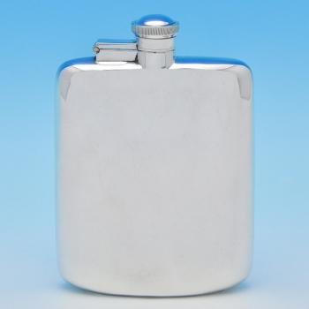 B7917:  Sterling Silver Hip Flask - James Dixon & Sons Hallmarked In 1943 Sheffield - George VI - Image 1