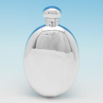 B9695: Antique Sterling Silver Hip Flask - Mappin & Webb Hallmarked In 1905 London - Edwardian - Image 1