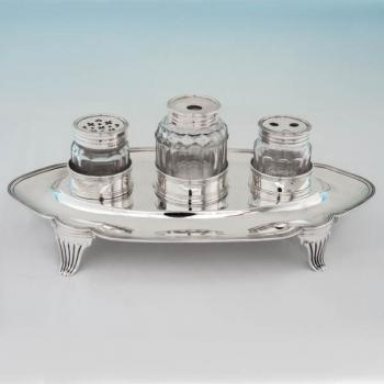 B5709: Antique Sterling Silver Ink Stands - John Emes Hallmarked In 1800 London - Georgian - Image 1
