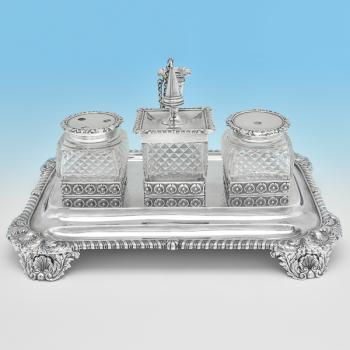 B8162: Antique Sterling Silver Ink Stands - Joseph Angell Hallmarked In 1823 London - Georgian - Image 1