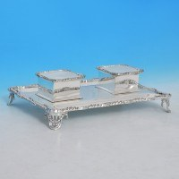 j9901: Sterling Silver Ink Stand - Hemmings & Co. Hallmarked In 1918 London - George V  - image 1