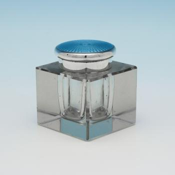 L0732e:  Sterling Silver Art Deco Ink Well - E.D Hallmarked In 1926 London - George V - Image 1