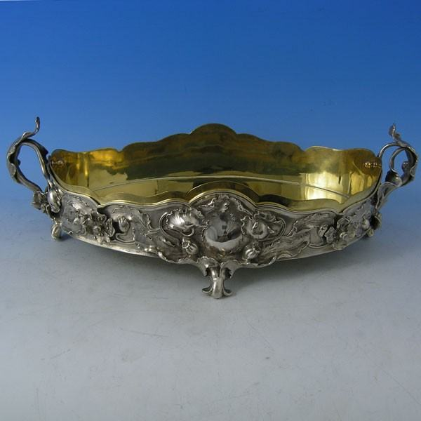 d1608: Antique Foreign Silver Jardiniere - Circa 1890 - Victorian - image 1