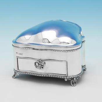 L0359: Antique Sterling Silver Jewellery Box - Nathan & Hayes Hallmarked In 1907 Chester - Edwardian - Image 1