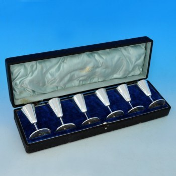 j5687: Antique Sterling Silver Set Of Six Liqueur Cups - Walker & Hall Hallmarked In 1908 Sheffield - Edwardian - image 1