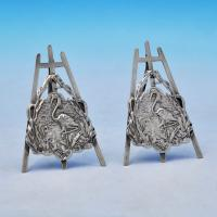 B2376b: Antique Sterling Silver Pair Of Menu Holders - Abrahall & Bint Hallmarked In 1900 Birmingham - Victorian - Image 1