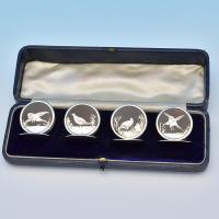 B7771:  Sterling Silver Menu Holders - Brook & Son Hallmarked In 1928 Sheffield - George V - Image 1