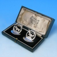 j2918: Sterling Silver Menu Holders - Hallmarked In 1938 Chester - George VI  - image 1