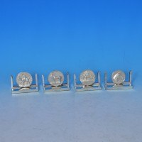 j7786: Sterling Silver Set Of Four Menu Holders - Mappin & Webb Hallmarked In 1934 London - George V  - image 1