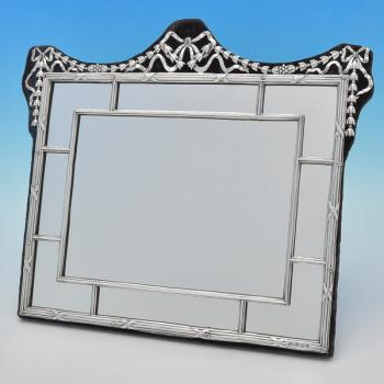 B7148: Antique Sterling Silver Mirror - Levi & Salaman Hallmarked In 1905 Birmingham - Edwardian - Image 1