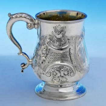 B1940: Antique Sterling Silver Mug - Elkington & Co. Hallmarked In 1864 Birmingham - Victorian - Image 1