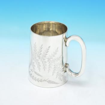 B3004: Antique Sterling Silver Mug - Henry Holland Hallmarked In 1879 London - Victorian - Image 1