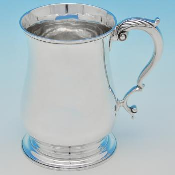 B6624: Antique Sterling Silver Pint Mug - Gibson & Langland Hallmarked In 1898 London - Victorian - Image 1