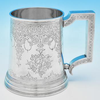 B7096: Antique Sterling Silver Mugs - Stephen Smith Hallmarked In 1866 London - Victorian - Image 1