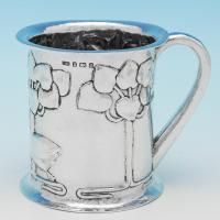 B9205: Antique Sterling Silver Mugs - Levi & Salaman Hallmarked In 1904 Birmingham - Edwardian - Image 1