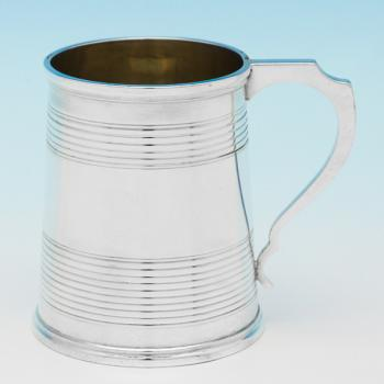 B9306: Antique Sterling Silver Christening Mugs - Lias Brothers Hallmarked In 1864 London - Victorian - Image 1