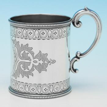 B9322: Antique Sterling Silver Christening Mugs - Martin Hall & Co. Hallmarked In 1866 Sheffield - Victorian - Image 1